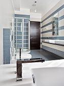 picture of shower-cubicle  - Modern bathroom in blue and gray tones with shower cubicle on wide angle view - JPG