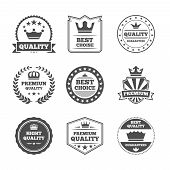 stock photo of significant  - Best quality high premium value superior brands  individual labels with royal crown emblems collection isolated vector illustration - JPG