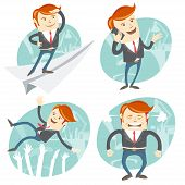 foto of throw up  - Vector Illustration Set of hipster officeman - JPG