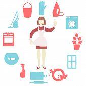 image of window washing  - Women doing house work with vacuum cleaner - JPG