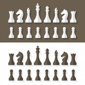 stock photo of chess piece  - Chess pieces flat design style - JPG