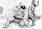 stock photo of judo  - An hand drawn illustration  - JPG