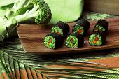 stock photo of buckwheat  - raw food rolls of buckwheat - JPG
