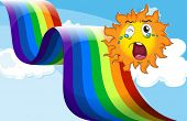 pic of sob  - Illustration of a crying sun near the rainbow - JPG