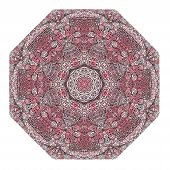 picture of octagon  - Octagonal rosy ornament on a white background - JPG