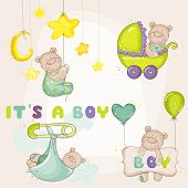 Постер, плакат: Baby Bea rSet for Baby Shower or Baby Arrival Cards in vector
