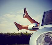 foto of car-window  - Road trip concept - JPG