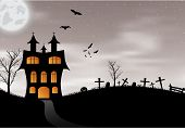 pic of bat  - Halloween background with castle - JPG