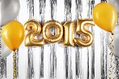 stock photo of helium  - New Year 2015 decoration with balloon - JPG