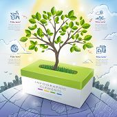 image of tissue box  - ecology concept template infographic with tree growing up from tissue box - JPG