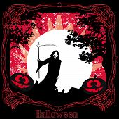 pic of grim-reaper  - scary grim reaper in the light of the moon  - JPG