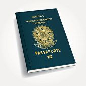 foto of passport cover  - vector Brazilian passport - JPG