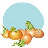 stock photo of dinosaur-eggs  - Illustration of baby dragons breaking free from his egg - JPG