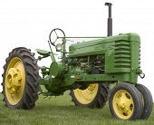 stock photo of rebuilt  - Rebuilt Farm Tractor in Green  - JPG
