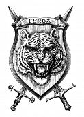pic of tigers  - Heraldic shield tiger head - JPG