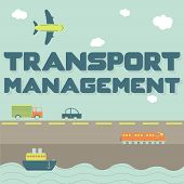 "pic of railroad car  - ""Transport management"" phrase and means of transportation as truck, car, ship, airplane and train - JPG"