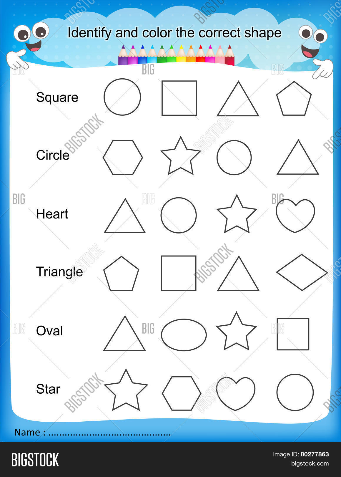 Stock Photo Identify And Color The Correct Shape Worksheet on 6 10 Worksheets For Kindergarten