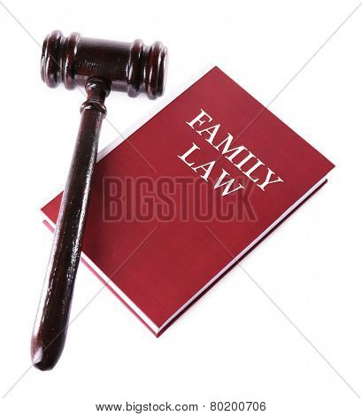 Judge's gavel on Family LAW book isolated on white