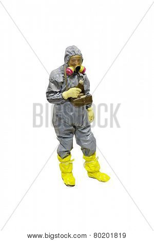 rescuer in a protective suit isolated under the white background