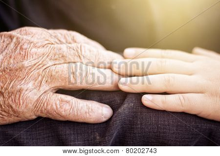 nephew touching grandfather's hand