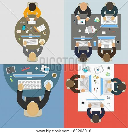 Groups Of Business People Working For Office Desk. New  Idea Of Company, Financial Strategy, Develop