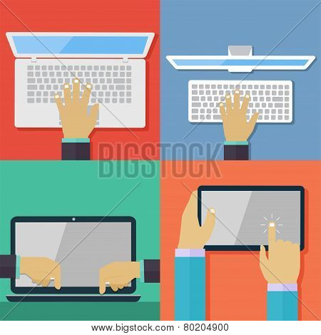 Set Of Flat Hand Icons Holding Various Hi-tech Computer And Communication Devices.  Digital Tablet A