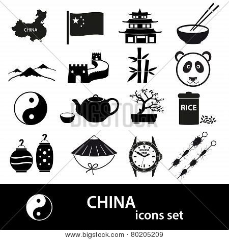 China Theme Black Icons Vector Set Eps10