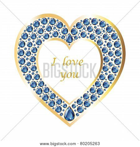 Heart Of Sapphire In A Gold Frame Vector Card
