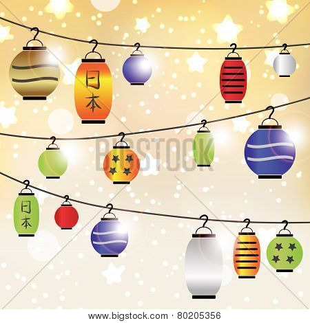 Colorful Celebration Asian Lantern Shiny Background Eps10