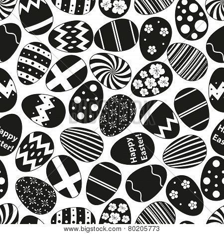 Various Black Easter Eggs Design Seamless Pattern Eps10