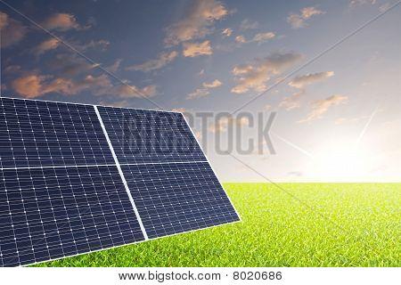 Solarpanel auf wiese