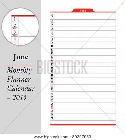 June, Montly Planner Calendar - 2015
