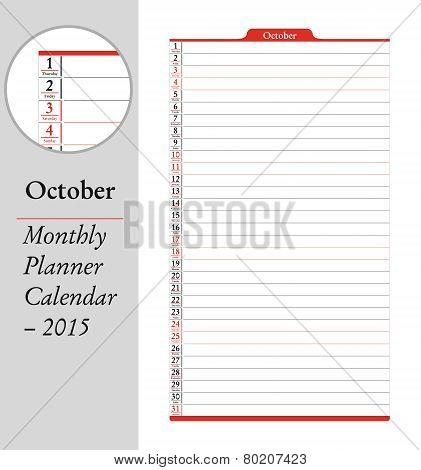 October, Montly Planner Calendar - 2015