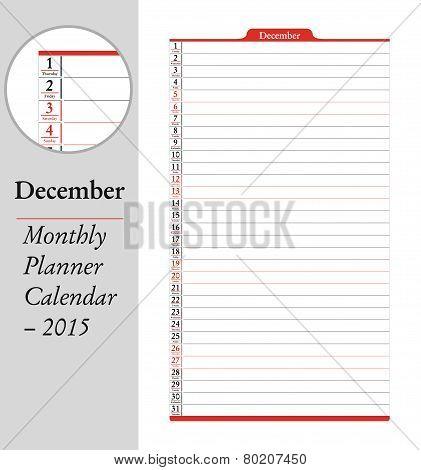 December, Montly Planner Calendar - 2015