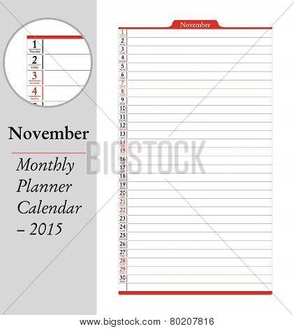 November, Montly Planner Calendar - 2015