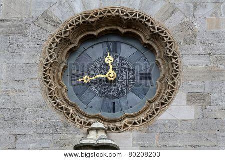 VIENNA, AUSTRIA - OCTOBER 10: Clock at St Stephens Cathedral in Vienna, Austria on October 10, 2014
