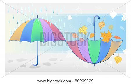 Color Symbol Of Autumn Weather: Rain, Falling Leaves, Umbrellas