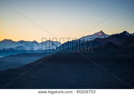 Italian Alpine Arc At Sunset