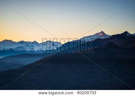 Italian Alpine Arc At Sunset