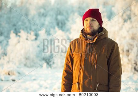 Young Man wearing winter hat fashion clothing outdoor