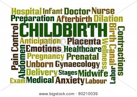 Childbirth word cloud on white background