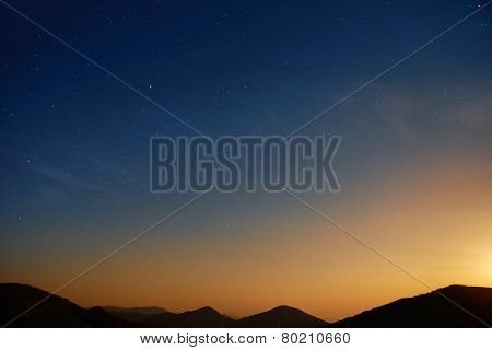 Sunset Over Blue Dark Night Sky