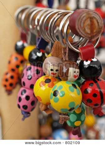 Collection of colorful keyrings for girls