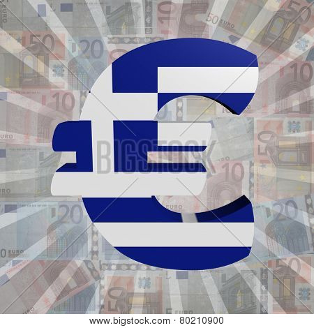 Euro symbol with Greek flag on Euro currency illustration