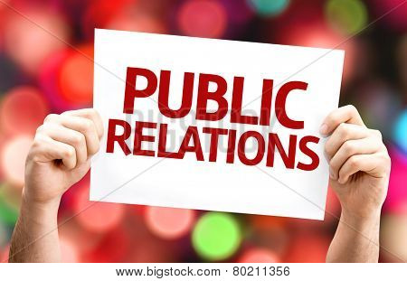 Public Relations card with colorful background with defocused lights