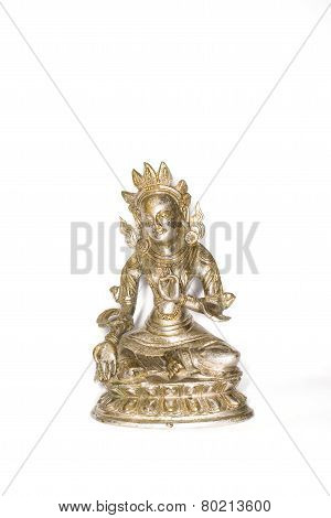 Statuette Of Green Tara On A White Background