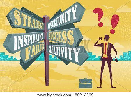 Businessman At Career Sign Post Dilemma.