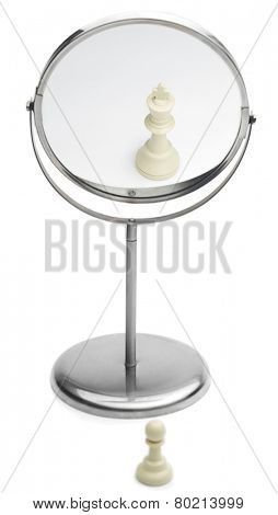Narcissistic personality disorder concept - Chess pawn imaging itself as a king isolated on white background.