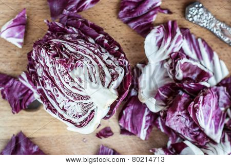 Sliced Radicchio On Wooden Table. Selective Focus. Close-up