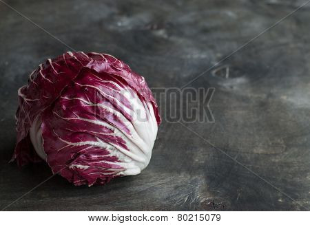 Radicchio Red Salad On Wooden Background. Horisontal
